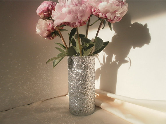 Wedding - Glitter Vase,  Wedding Bouquet Holder, Bridesmaid Bouquet Holder, Baby Shower Glam, Bridal Shower Bling