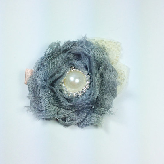 Mariage - Gray ivory hair clip chiffon flower girl clip women hair clip vintage baby infant newborn chiffon flower frayed flower girl off white
