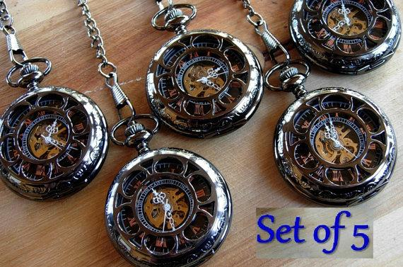 Set Of 5 Pocket Watches With Chains Personalized Engravable Pockech Groomsmen Gift For Your Wedding Gunmetal Black