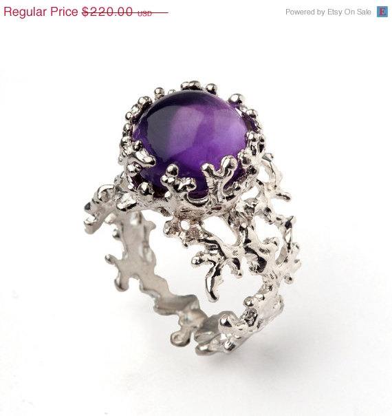 Mariage - SALE 20% off - CORAL Purple Amethyst Ring, Sterling Silver Amethyst Ring, Large Amethyst Ring, Purple Amethyst Engagement Ring, Statement Ri