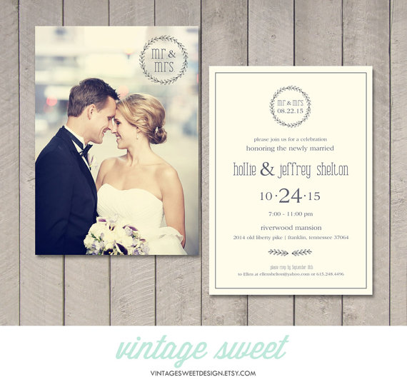 Modern Wedding Reception Invitation Printable By Vintage