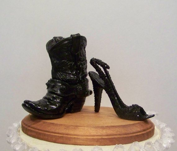 Mariage - Wedding Cake Topper-Black Western Cowboy Boot with Black Glittered Stilleto-Grooms Cake Topper