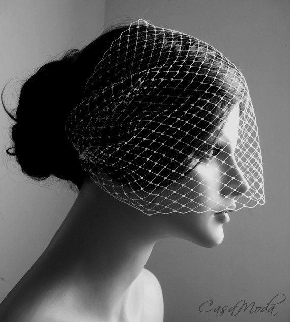 Свадьба - Wedding Veils Birdcage Veil Bandeau Style in Ivory Color 9 Inches