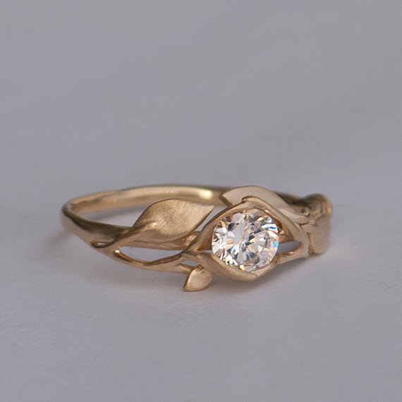Leaves Engagement Ring No 6 14K Gold And Diamond Engagement