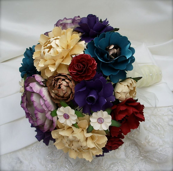 Hochzeit - Peacock Color Inspired Wedding Bouquet - Customize your Style and Colors - Made To Order