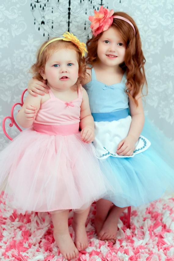 Wedding - FLOWER GIRL DRESS  Light blue or pink dress girls r tutu dress