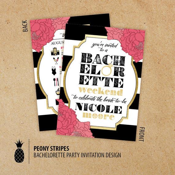 زفاف - Peony Stripes Bachelorette Weekend Timeline Invitations