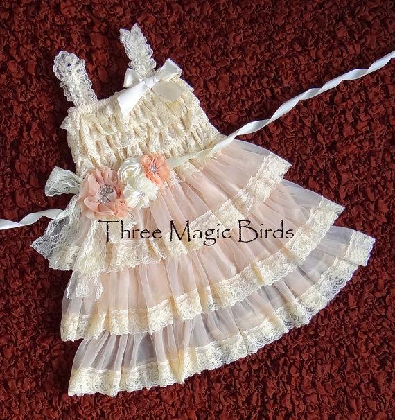 Mariage - Champagne Lace Flower Girl Dress-Vintage Wedding-Sash-Cream Chiffon Dress-Bridesmaid-Rustic Flower Girl Dress-Country Flower Girl Dress