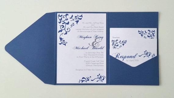 زفاف - 5 x 7 Flourish Euro Pocket Fold Wedding Invitation - Deposit