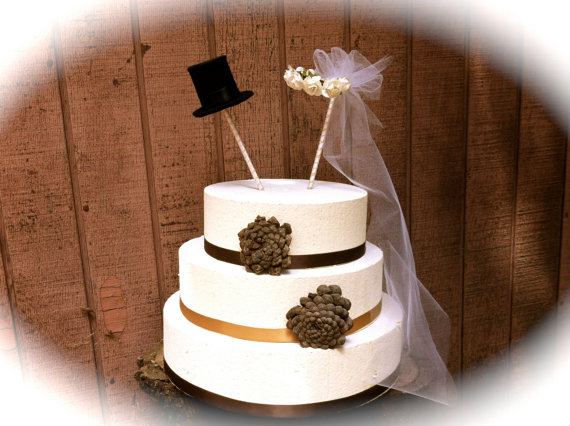 Wedding Cake Topper Rustic Vintage Country Winter Fall Weddings