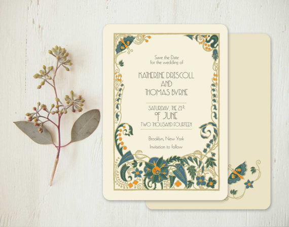 art deco wedding invitations or vintage save the dates jade