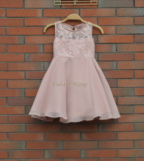 Mariage - Rose/Blush Pink Lace Chiffon Flower Girl Dress At Knee Length With Sash