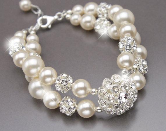 Mariage - Pearl Wedding Bracelet, Double Strand Vintage Style Rhinestone and Pearl Bridal Bracelet, Pearl Bridal Jewelry, Pearl Wedding Cuff