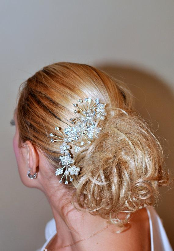 Свадьба - Bridal Hair Comb Pearl and Rhinestone Wedding Hair Comb, Vintage Style Wedding Hair Accessories Bridal Hair Accessory