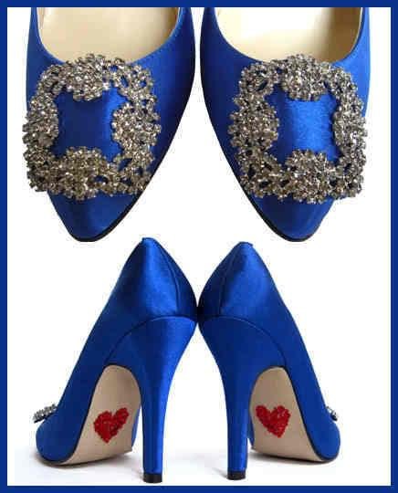Mariage - LAST PAIR - Something Blue with Red Hearts On Sole Crystal Wedding Pumps Cobalt Blue Bridal Shoes size 9