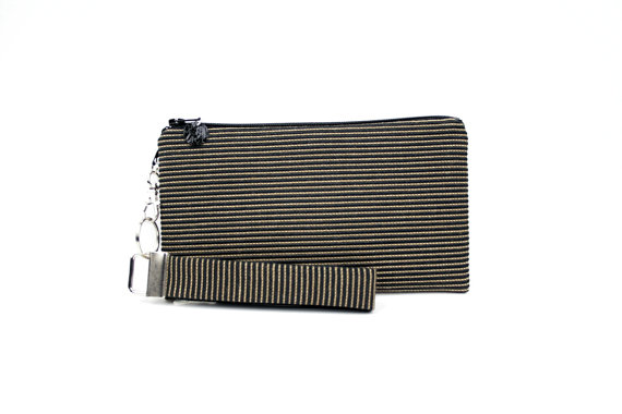 Mariage - Black bridesmaid clutch - wedding purse - formal evening bag - womens gold stripe small purse - wristlet - fabric handbag