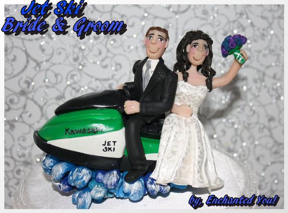 Mariage - Wedding Cake Topper, Bride & Groom on Jet Ski