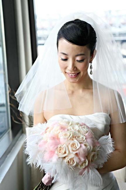 Mariage - Wedding Bridal Veil, Double Layered Fingertip Veil - clean cut edge, white, soft white, ivory, blusher