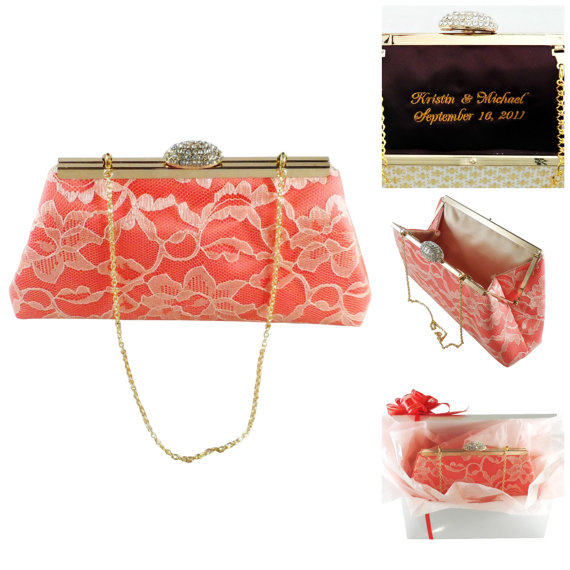 Bridesmaid Gift Clutch Calypso Coral And Champagne Bridal