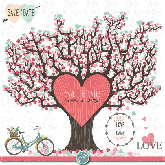 "Wedding - Wedding Clipart""WEDDING LOVE TREE""clip art pack, Love Tree, Save The Date, Love Bite,perfect for Wedding invitation,Instant Download Wd051 ."