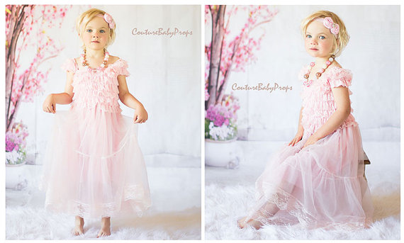 7bd44ad0d Vintage Baby Pink Lace Girls DRESS, Ruffle dress, flower girl dress,  birthday dress, baby dress, light pink, MATCHING Accessories in store