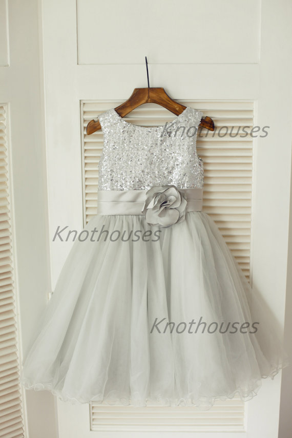 Silver Sequin Tulle Flower Girl Dress Children Toddler Party Dress ...