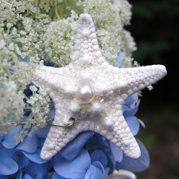 Mariage - Starfish Stems with Pearls - 12 Stems for a Wedding Bouquet Bridal Bouquet or Centerpiece