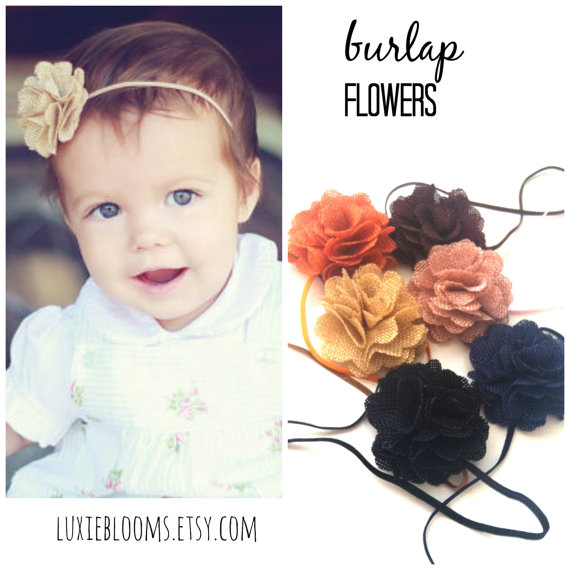 زفاف - Burlap Headband, Burlap Baby Headband, Burlap Wedding, Flower Girl Headband