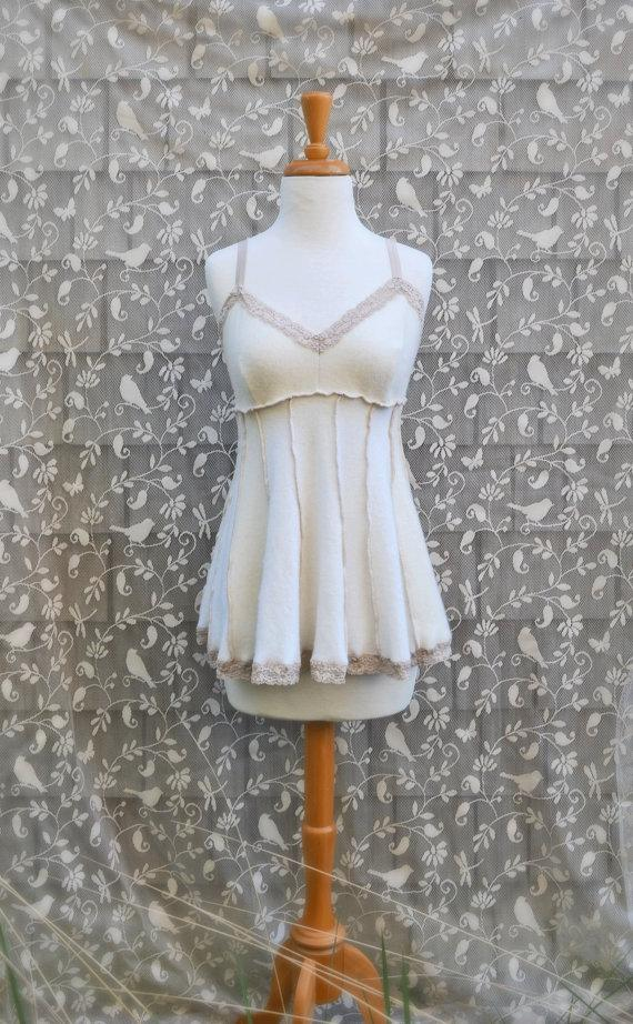 Свадьба - Cashmere Luxury Lingerie Creamy White Women's Babydoll Teddy Sleepwear Lounge Soft Sexy Cozy Camisole Cream Lace Upcycled OOAK Size Medium