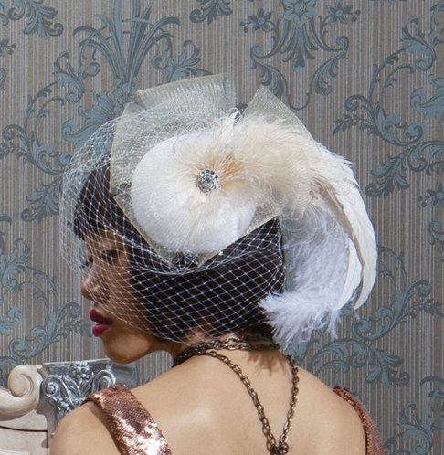 Düğün - Champagne Wedding Veil, Feather Fascinator, Bridal Headpiece, Cocktail Hat, Ivory Birdcage Veil, Crystal, Batcakes Couture