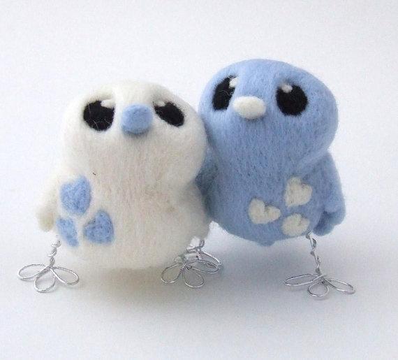 Mariage - Bird Wedding Cake Topper Pale Blue and White Love Birds Tweet Needle felted Birds