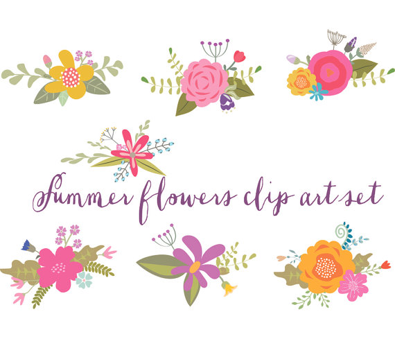 Mariage - summer flowers bright Floral clip art, wedding clipart,