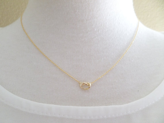 Mariage - Gold, Silver, or Rose gold Love Knot necklace...Tie the Knot necklace ....dainty, everyday, simple, birthday,  wedding, bridesmaid jewelry