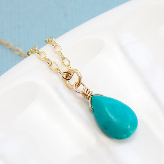 Mariage - Turquoise Drop Necklace / Silver , Gold or Rose Gold / Dainty Delicate / Everyday / Nautical Jewelry / Ocean / Beach Wedding / Resort Style