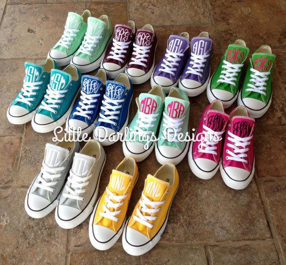 Hochzeit - NEW COLORS! Women's Monogrammed Converse Sneakers