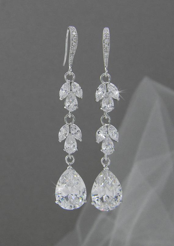 Long Bridal Earrings Rose Gold Wedding Swarovski