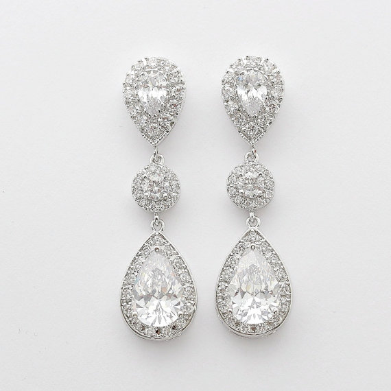 Bridal Jewelry Large Clear Cubic Zirconia Teardrop Earrings Bridal