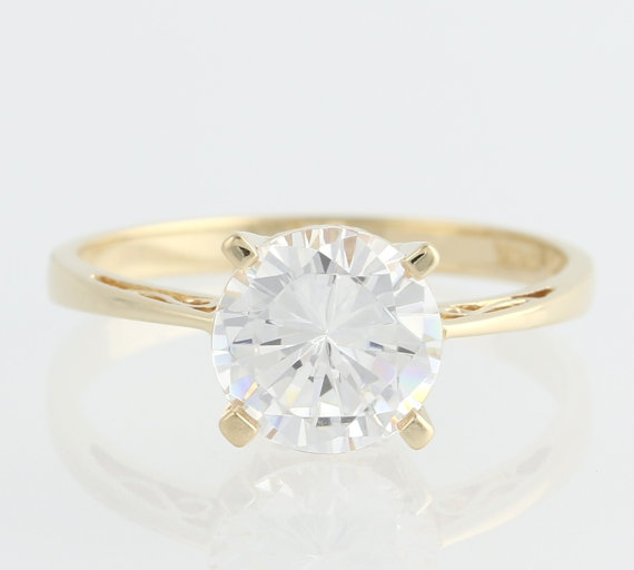 Cubic Zirconia Solitaire Engagement Ring 14k Yellow Gold CZ