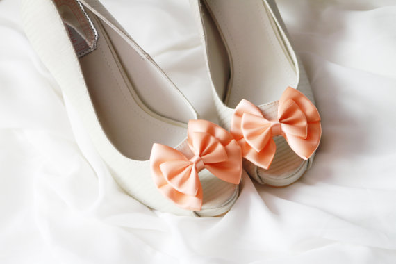 Peach Pink Bow Shoe Clips - Bows Clips Bridal Wedding Shoes Clips ...