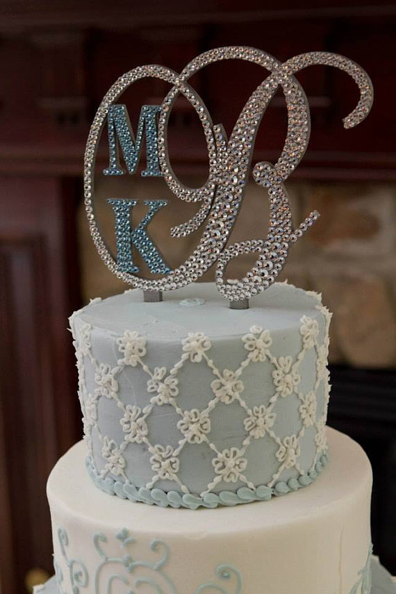 Wonderful Monogram Wedding Cake Topper Crystal Initial Any Letter A B C D E F G H I J  K L M N O P Q R S T U V W X Y Z