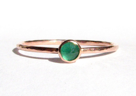 Mariage - Emerald & Solid Rose Gold Ring - Thin Gold Ring - Stacking Ring - Engagement Ring - Emerald Rose Gold - Gemstone Ring- Green- MADE TO ORDER.
