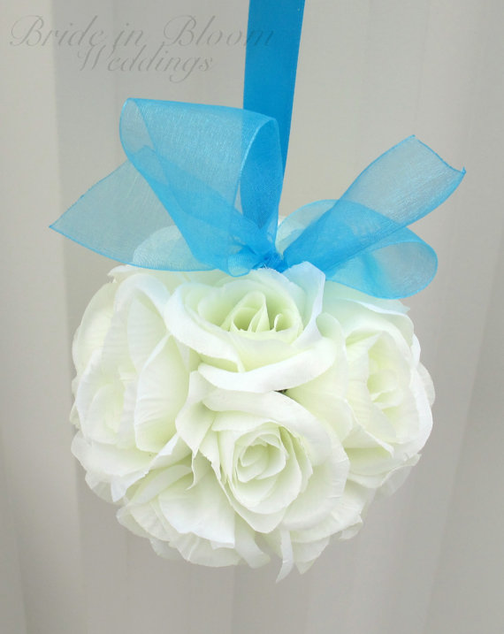 Wedding Flower Balls Pomander White Turquoise Wedding Decorations