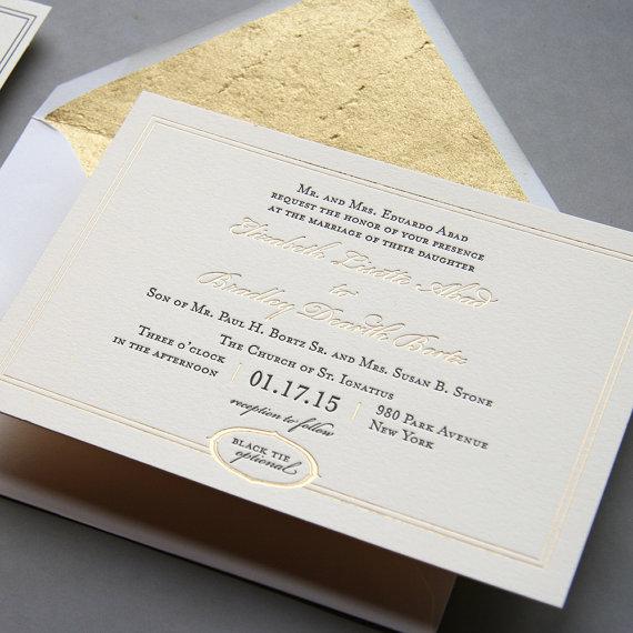 letterpress and gold foil wedding invitation set - metropolitan, Wedding invitations