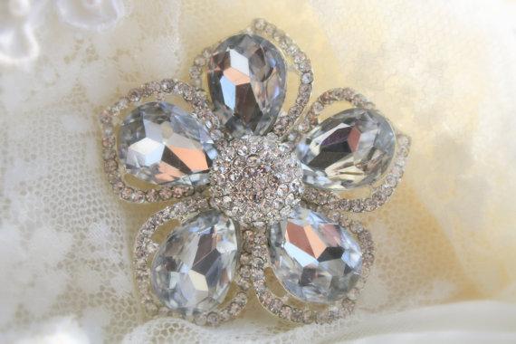 Hochzeit - Rhinestone Brooch - Crystal Brooch - Vintage Style Brooch- Perfect For Bridal Wedding Bouquets - Rhinestone Flower Brooch- Bridal Sash