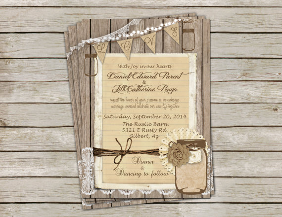 Rustic burlap and lace wedding invitation invite mason jar flower rustic burlap and lace wedding invitation invite mason jar flower printable digital file personalized 5x7 solutioingenieria Gallery