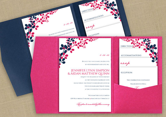 diy pocket wedding invitation template set instant download editable text exquisite vines navy hot pink microsoft word format - Navy And Blush Wedding Invitations