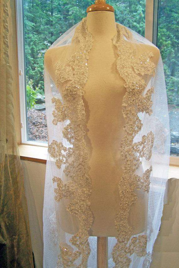 Свадьба - Handmade Custom Couture OOAK Chapel Veil-Hand Embroidered Applique Pearl and Lace Bridal Veil-Scallop Edging-CRBoggs Original Design