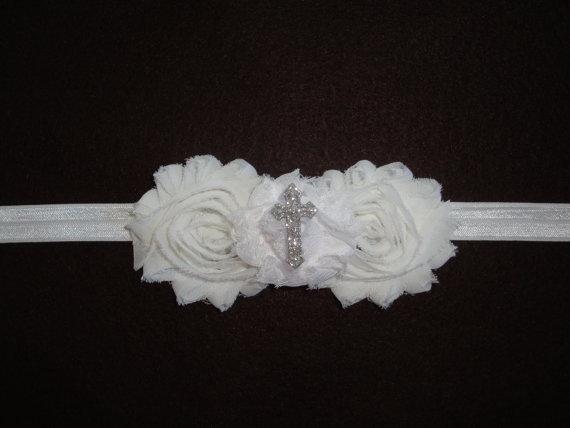 زفاف - EXTRA 15% OFF-Baby Baptism Cross Headband-Girl-White Flower Headband-Confirmation-Church Headband-Newborn-Preemie-Child-Wedding-Christening