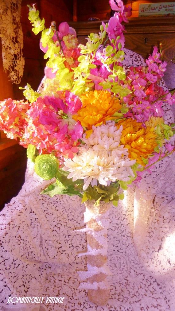 زفاف - Silk Garden Bouquet, Colorful, Boutique Charm, Cottage Chic Home Decor, Photo Prop, Wedding Decor