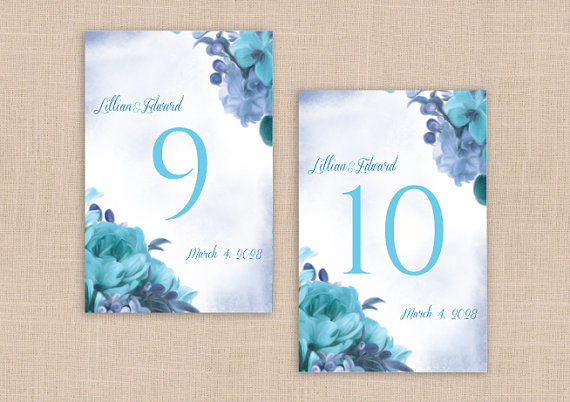 Mariage - Printable Table Card Template - 4x6 - DOWNLOAD Instantly - EDITABLE TEXT - Painted Peony Bouquet (Blue & Aqua)  - Microsoft® Word Format